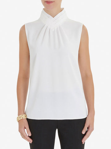 Pleated Collar Crepe de Chine Blouse, White