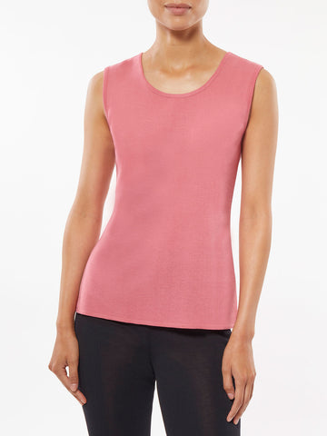 Plus Size Classic Knit Tank Top, Coral Rose