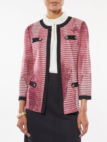 Abstract Ombre Jacquard Knit Jacket