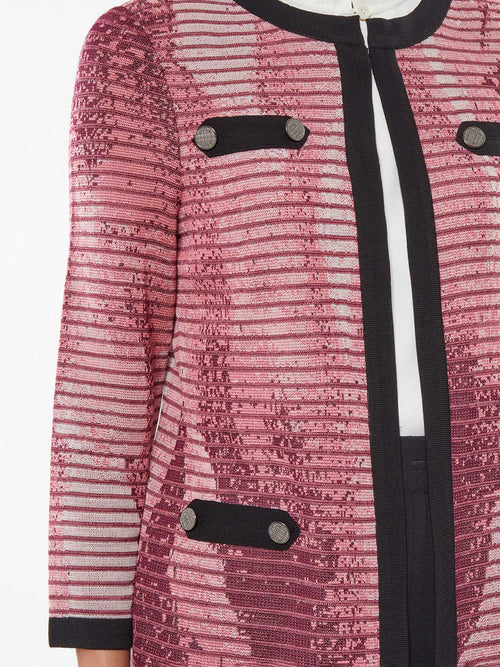 Abstract Ombre Jacquard Knit Jacket – Premium Detail – Misook