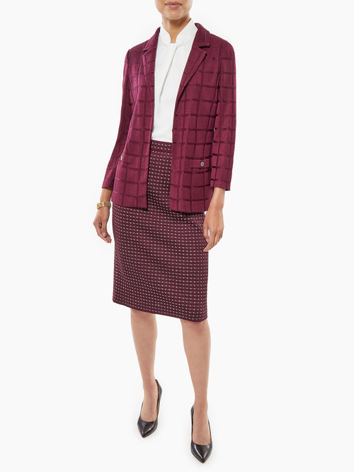Plus Size Lustrous Windowpane Knit Blazer – Misook