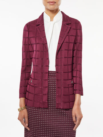 Plus Size Lustrous Windowpane Knit Blazer