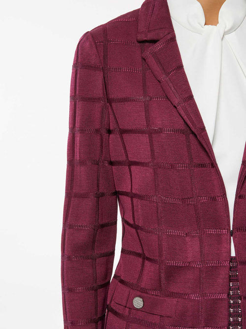 Plus Size Lustrous Windowpane Knit Blazer – Premium Detail – Misook