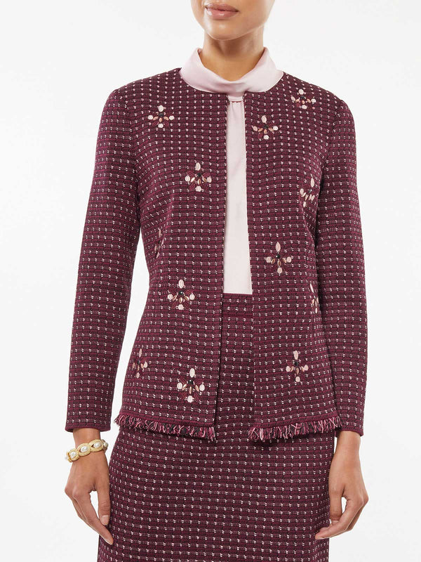 Embroidered Stone Detail Tweed Jacket – Misook