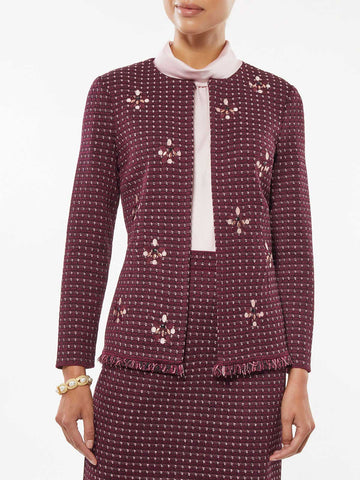 Plus Size Embroidered Stone Detail Tweed Jacket