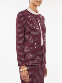 Plus Size Embroidered Stone Detail Tweed Jacket – Misook