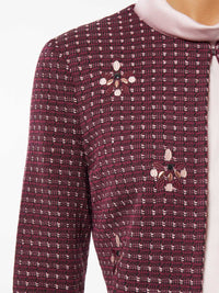 Plus Size Embroidered Stone Detail Tweed Jacket – Premium Detail – Misook