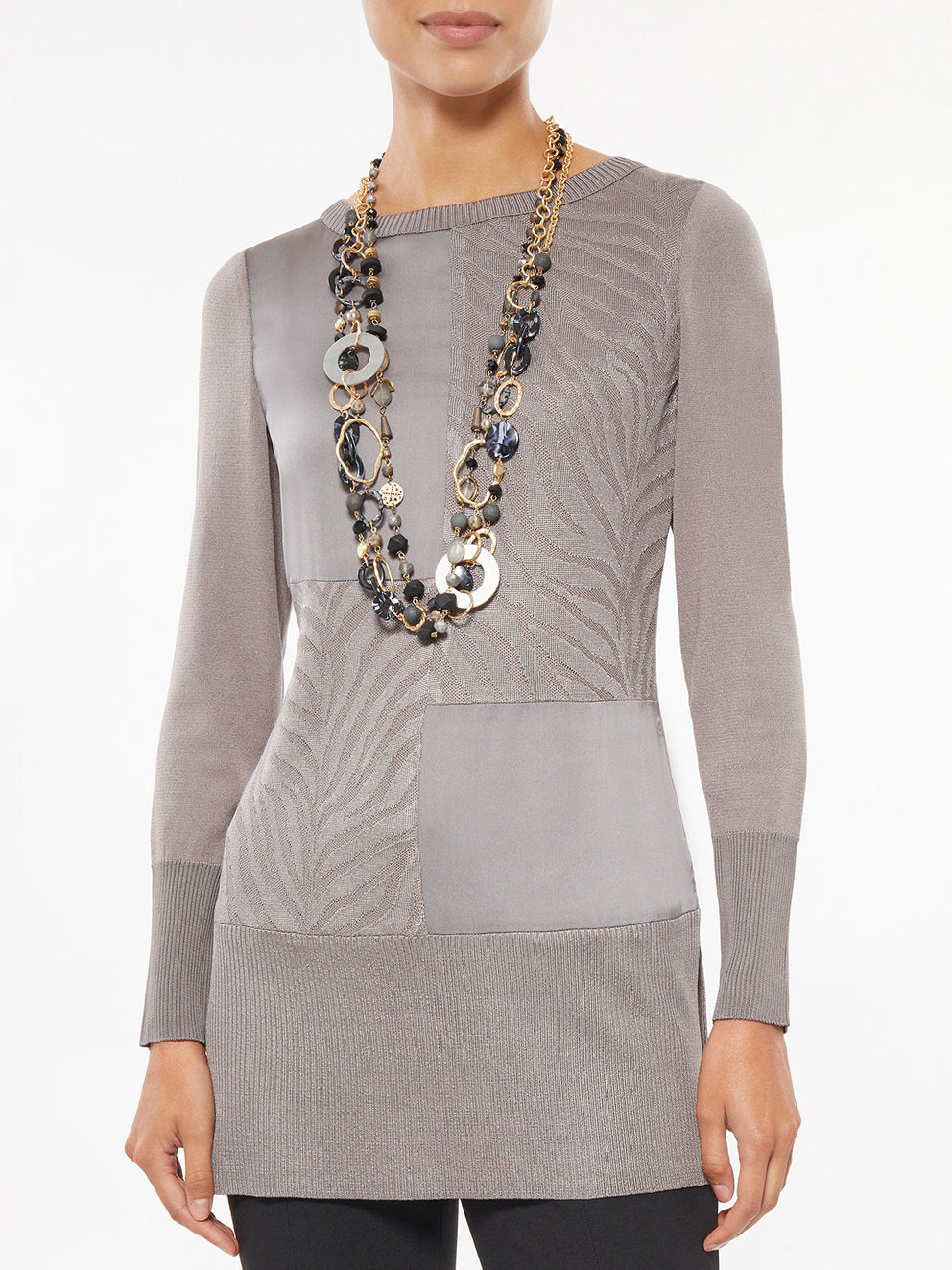 Misook Charmeuse and Knit Tunic in Mink Gray