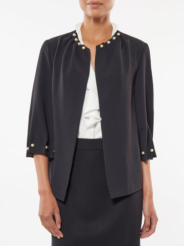Plus Size Pearl Trim Crepe Jacket