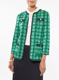 Tonal Plaid Dash Trim Knit Jacket – Misook