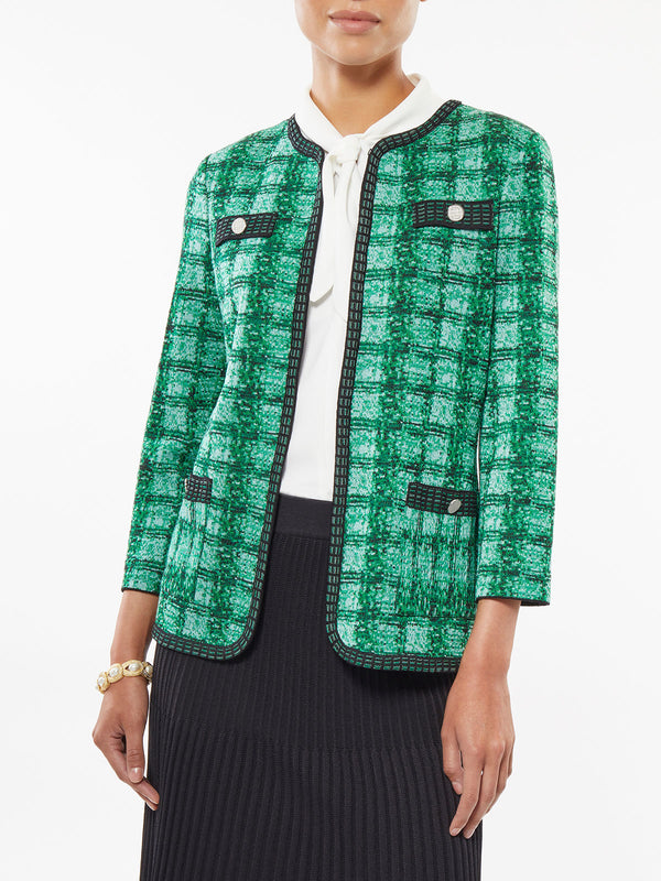Plus Size Tonal Plaid Dash Trim Knit Jacket – Misook