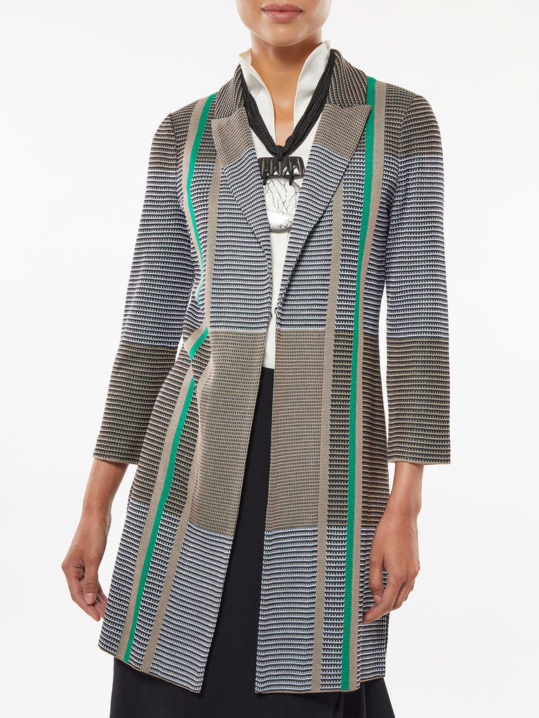 Colorblock Plaid Long Knit Jacket – Misook