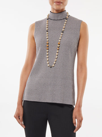 Mock Neck Check Knit Tank
