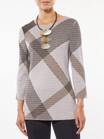 Diagonal Plaid Knit Tunic