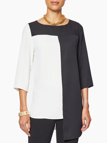 Asymmetrical Colorblock Crepe Blouse