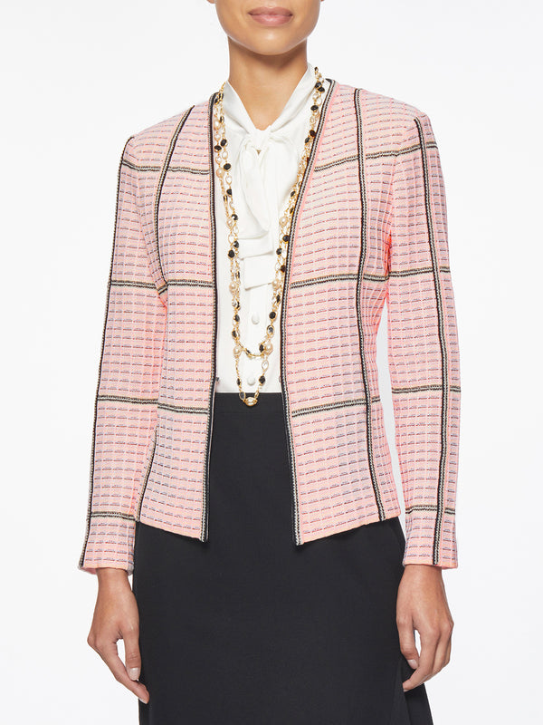 Textured Grid Knit Jacket – Misook