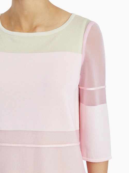 Sheer Shimmering Overlay Knit Tunic – Misook Premium Details