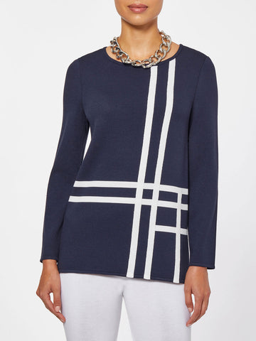Abstract Check Intarsia Knit Tunic