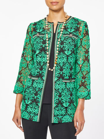 Crocheted Lace and Knit Jacket