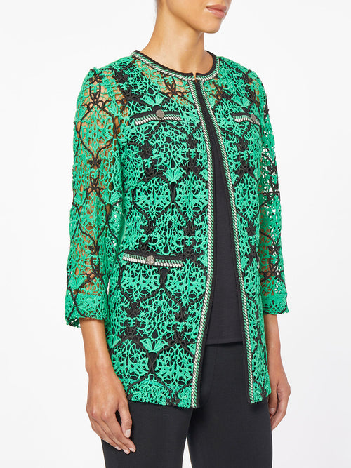 Crocheted Lace and Knit Jacket – Misook