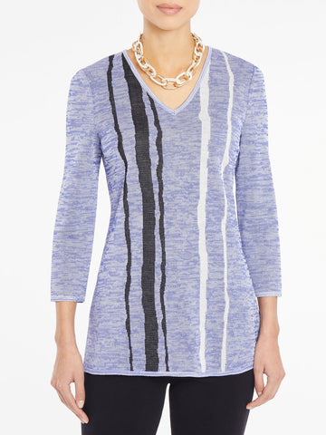 Wavy Stripe Melange Knit Tunic