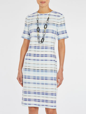 Modern Plaid Sheath Knit Dress