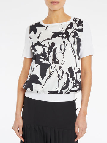 Botanical Print Crepe de Chine and Knit Top