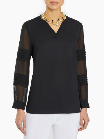 Pleated Sheer Sleeve Crepe de Chine Tunic