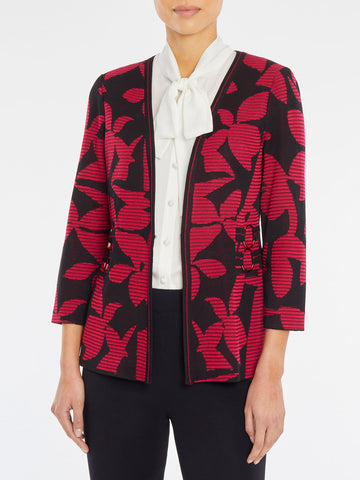 Floral Intarsia Contrast Knit Jacket