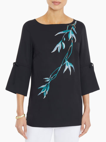 Embroidered Bell Sleeve Crepe de Chine Tunic