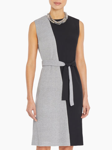 Contrast Knit and Woven Belted Dress