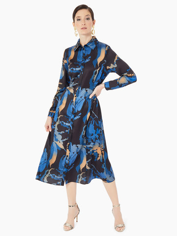 Abstract Floral Crepe de Chine Maxi Shirtdress