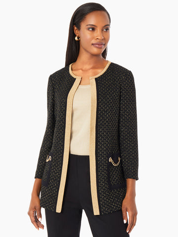 Chain Detail Shimmering Knit Jacket