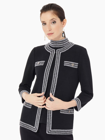Embroidered Trim Flat Knit Jacket