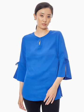 Tie Detail Bell Sleeve Crepe de Chine Tunic