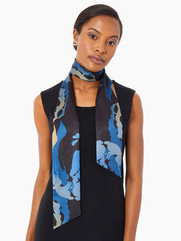 Abstract Floral Print Twilly Scarf