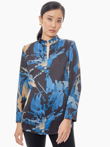 Abstract Floral Crepe de Chine Tunic