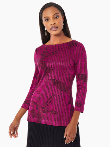Shimmer Stripe Floral Intarsia Knit Tunic