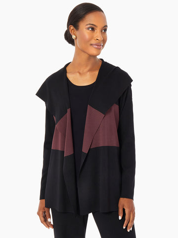Colorblock Hooded Knit Cardigan