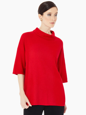 Cowl Neck Textured Knit Tunic, Classic Red