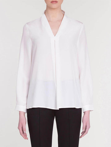 White Silk Blouse with Front Pleat