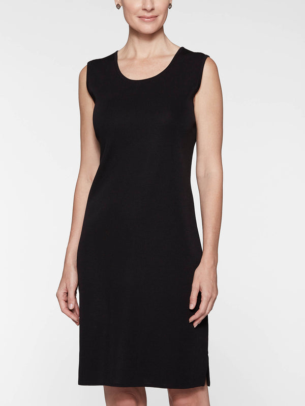 Plus Size Sleeveless Sheath Knit Dress, Black