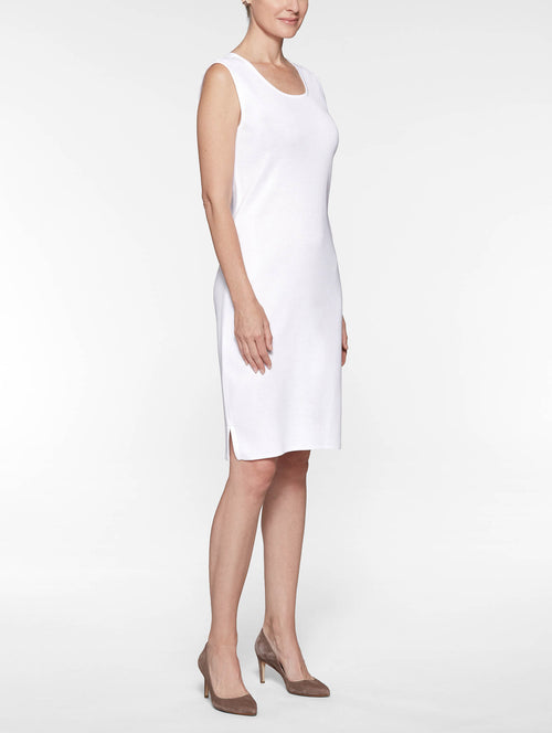 Petite White Sleeveless Sheath Dress