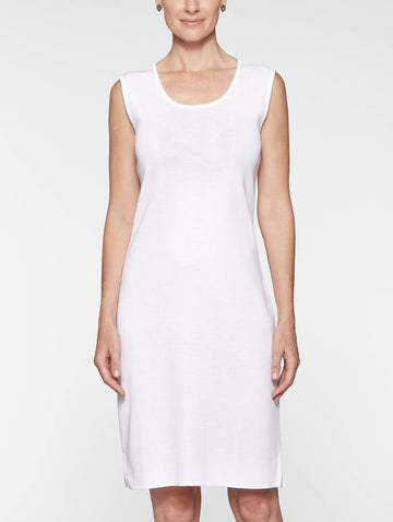 Sleeveless Sheath Knit Dress, White