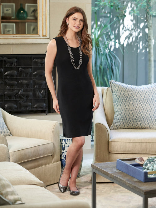 Petite Sleeveless Sheath Knit Dress, Black