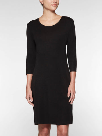 3/4 Sleeve Sheath Knit Dress, Black