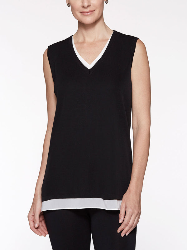 Sheer Trim Knit Tank Top, Black/White