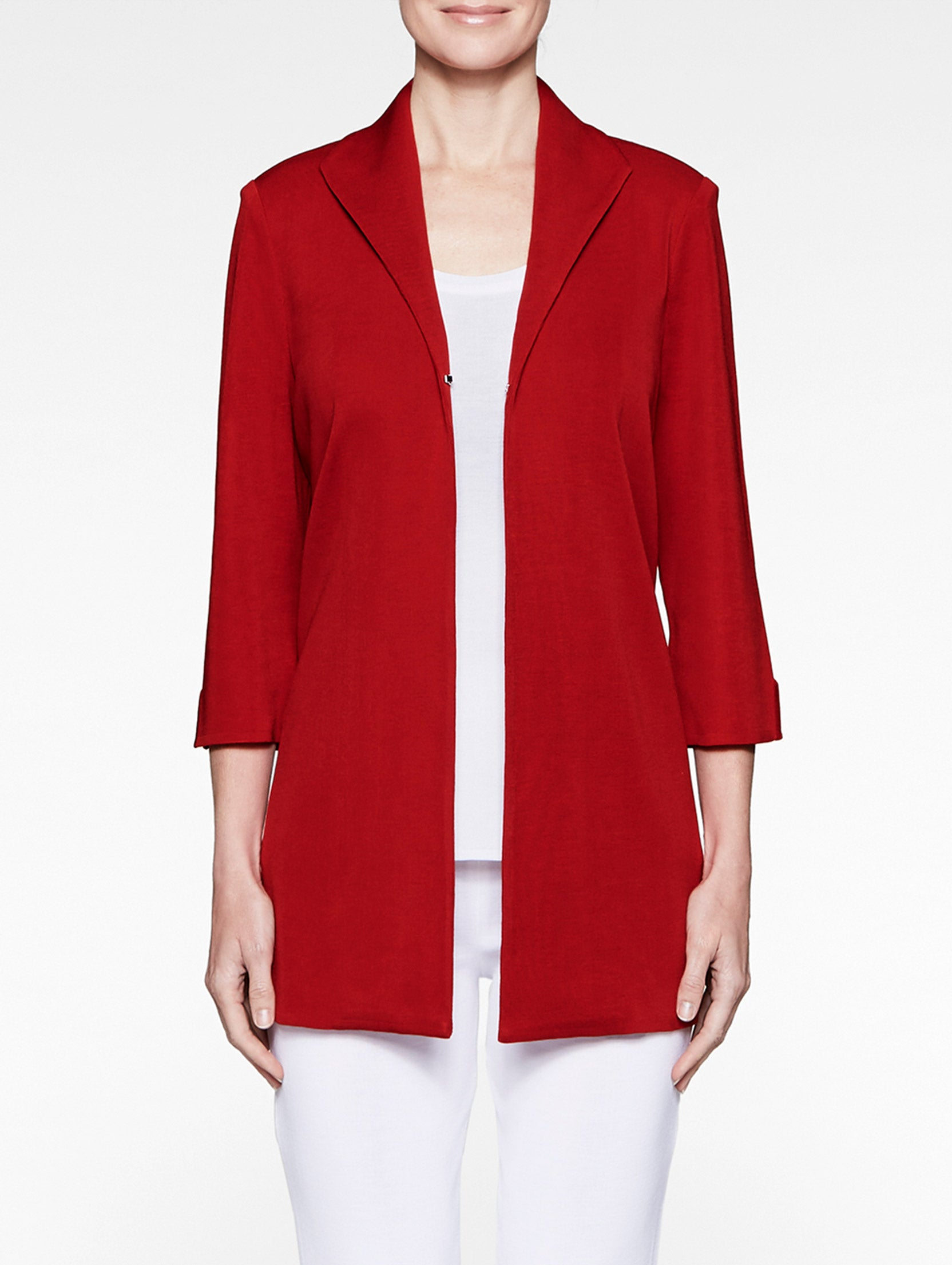 Wing Collar Swing Knit Jacket, Red