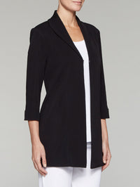 Black Wing Collar Swing Jacket