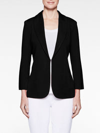 Shawl Collar Fitted Knit Jacket, Black